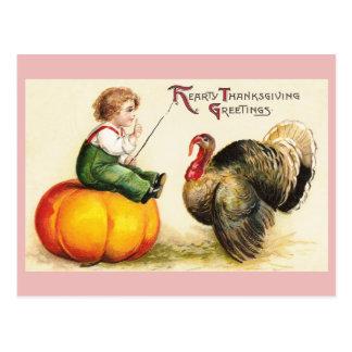 Boy on Pumpkin and Turkey Vintage Thanksgiving Postcard