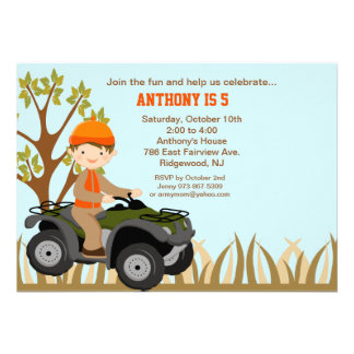 Boy On Quad In the Woods Birthday Invitation