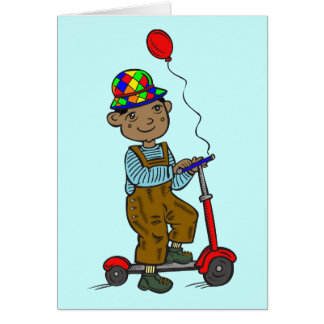 Boy on Scooter with Balloon Card