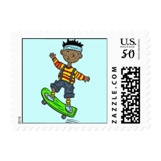 Boy On Skateboard Postage
