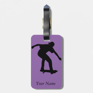 Boy On Skateboard Silhouette derived from an image Bag Tag