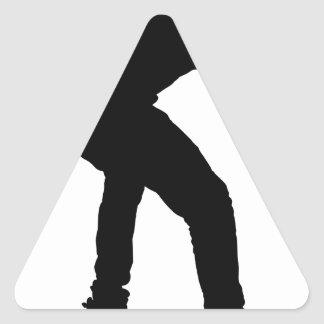 Boy On Skateboard Silhouette Triangle Sticker