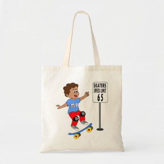 boy on skateboard tote speed limit 65 sign
