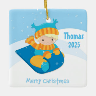Boy on Sled, Christmas Ceramic Ornament