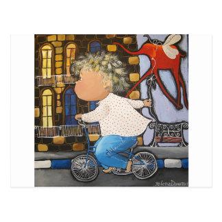 Boy on the bicycle postcard