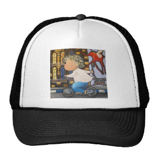 Boy on the bicycle trucker hat