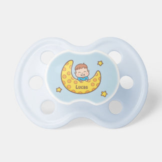 Boy on the Moon Among the Stars Baby Pacifier