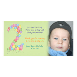 Boy or Girl 2nd Birthday Thank You Photo Card