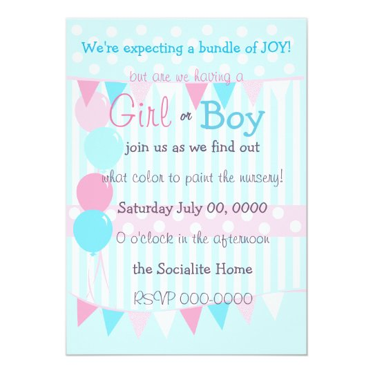 Boy or Girl Baby Reveal Party Card