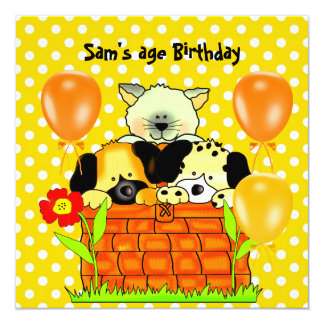 Boy or Girl Birthday Party Spot Cats Dogs friends Invitations