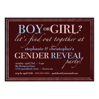 Boy or Girl Elegant Baby Gender Reveal Party Card
