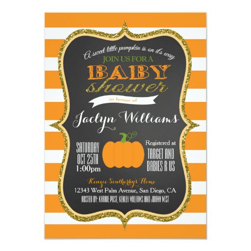 boy or girl fall pumpkin baby shower invitation zazzle