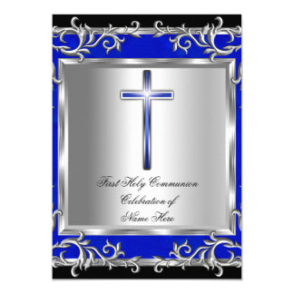 Boy or Girl First Holy Communion Silver Blue Card