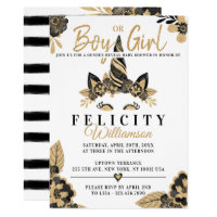 Boy or Girl Floral Unicorn Baby Shower Invitation