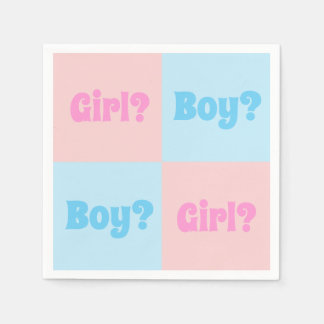 Boy or Girl Gender Reveal Paper Napkin