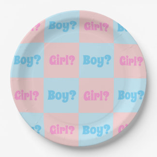 Boy or Girl Gender Reveal Paper Plate