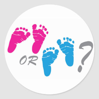 boy or girl? gender reveal party classic round sticker