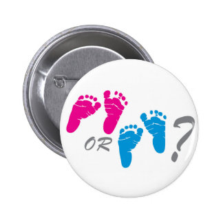 boy or girl? gender reveal party pinback button