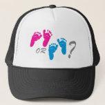 """boy or girl? gender reveal party trucker hat<br><div class=""""desc"""">boy or girl? gender reveal party material</div>"""
