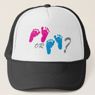 boy or girl? gender reveal party trucker hat