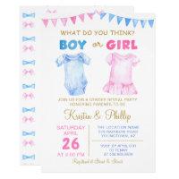 Boy or Girl Gender Reveal Pink Blue Baby shower Card