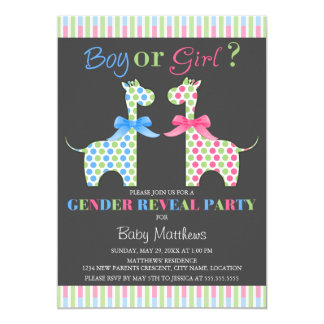 Boy or Girl Giraffe Gender Reveal Party 5x7 Paper Invitation Card