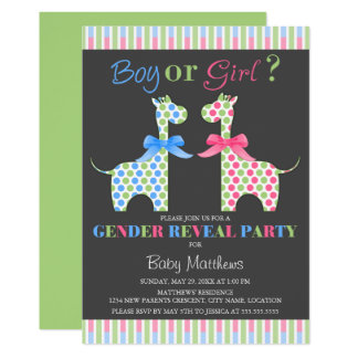 Boy or Girl Giraffe Gender Reveal Party Card