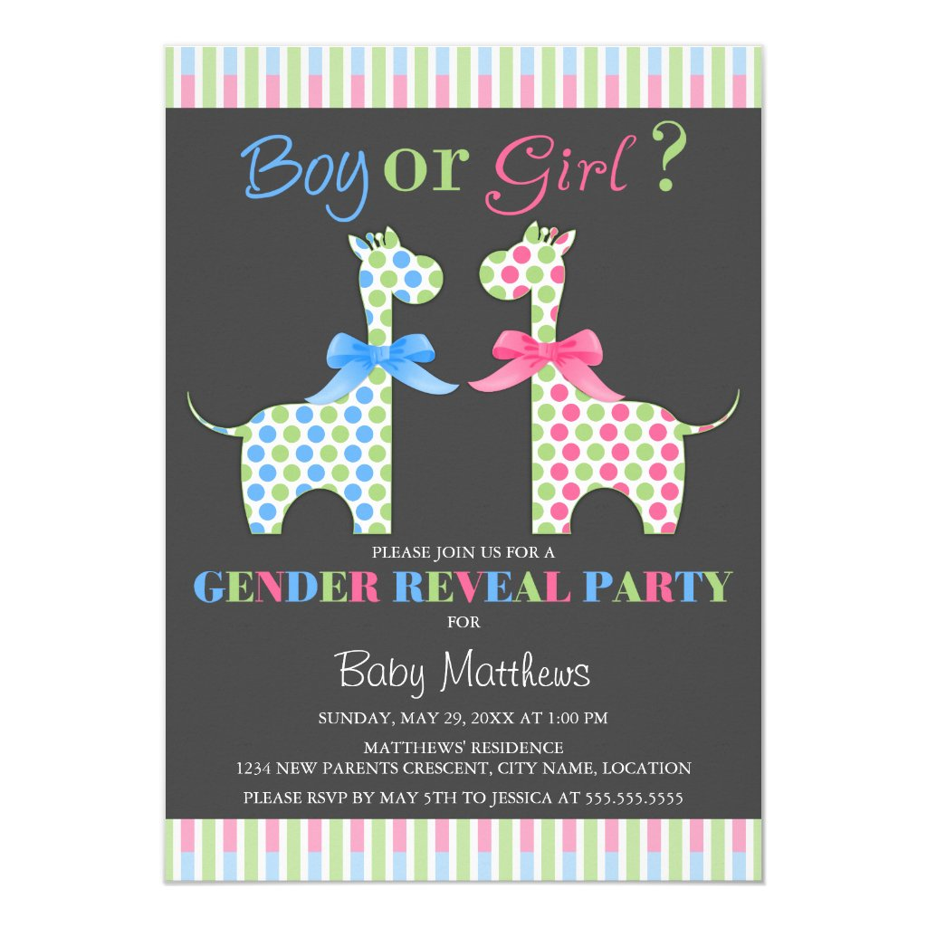 Boy or Girl Giraffe Gender Reveal Party Card
