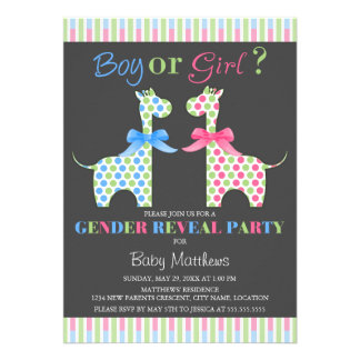 Boy or Girl Giraffe Gender Reveal Party Announcement