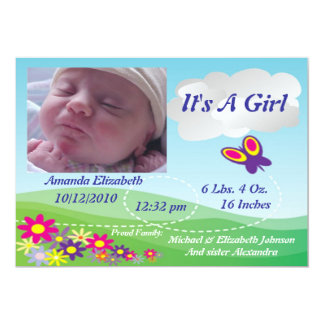 "Boy OR Girl Nature Birth Announcement 5"" X 7"" Invitation Card"