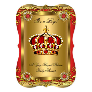 Boy or Girl Royal Baby Shower Regal Red Gold Card