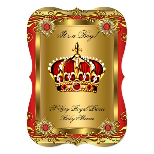 Boy Or Girl Royal Baby Shower Regal Red Gold 5x7 Paper