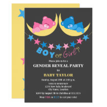 Boy Or Girl Teddy Bears Gender Reveal Party Card