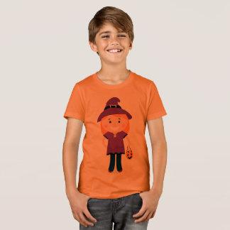 Boy orange t-shirt with little Witch