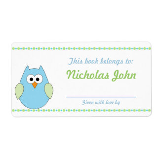 Boy Owl Baby Shower Bookplates book plates Label