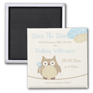 Boy Owl Baby Shower Save The Date 2 Inch Square Magnet