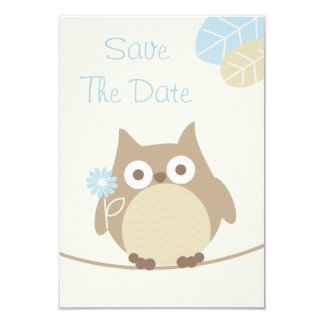 Boy Owl Baby Shower Save The Date Card