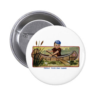 Boy Paddling Canoe Through Lily Pads Vintage Pinback Button
