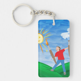 Boy Painting Keychain
