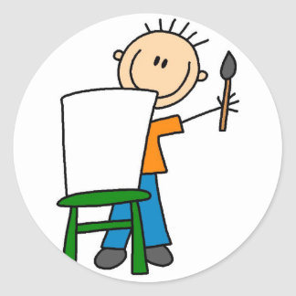 Boy Painting School Sticker
