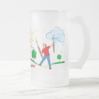 Boy Painting Skies Frosted Glass Beer Mug