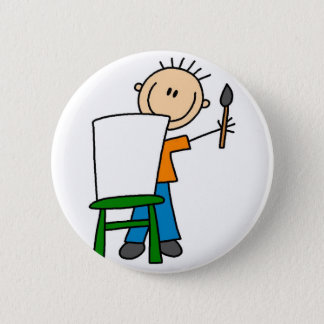 Boy Painting Stick Figure Button