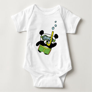 Boy Panda in Swimsuit Snorkling Baby Bodysuit
