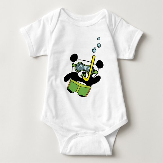 Boy Panda in Swimsuit Snorkling Baby Bodysuit