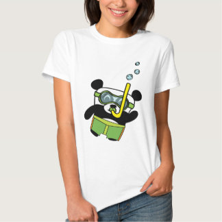 Boy Panda in Swimsuit Snorkling T-Shirt