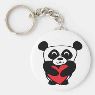 Boy Panda with Big Red Heart Keychain