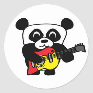 Boy Panda with Electric Guitar Round Stickers