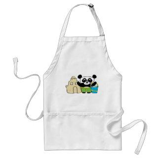 Boy Panda with Sandcastle Adult Apron