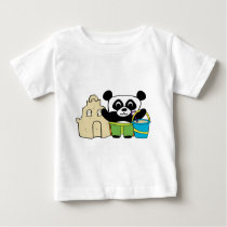 Boy Panda with Sandcastle Baby T-Shirt