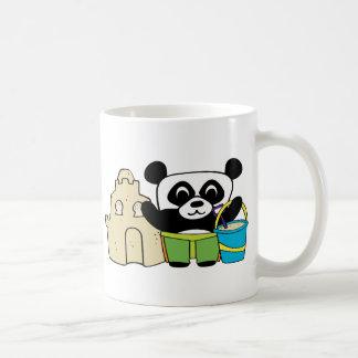 Boy Panda with Sandcastle Coffee Mugs